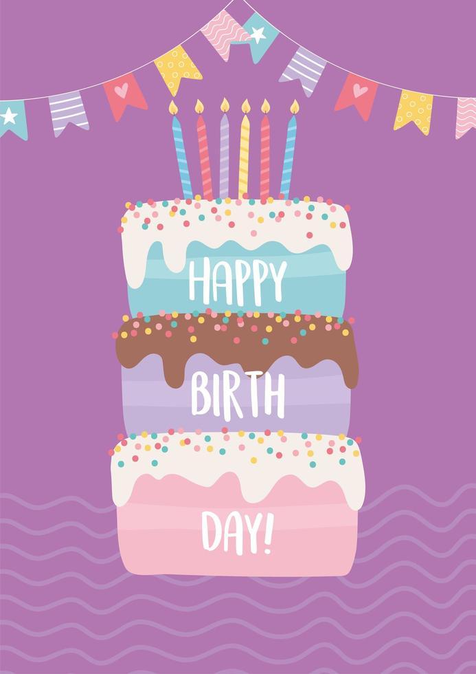 färgglatt födelsedagskort med tårta vektor