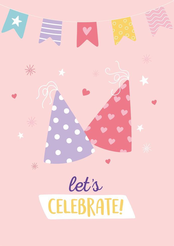 färgglatt födelsedagskort med dekorativa festhattar vektor