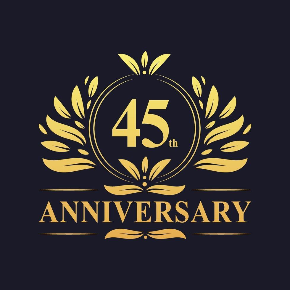 45-årsjubileumsdesign, lyxig gyllene färg 45-årsjubileumslogotyp. vektor