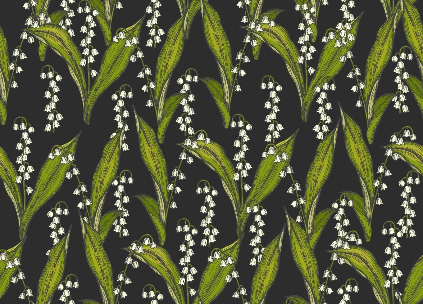 vår sömlösa mönster med handritade blommor liljor i dalen på svart. mönster kan användas för tapeter, webbsidans bakgrund, ytstrukturer. vektor