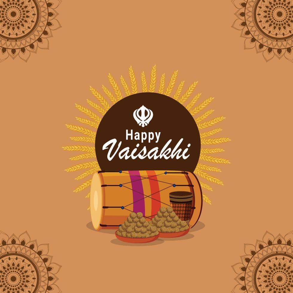 vaisakhi indisk sikh festival firande bakgrund vektor