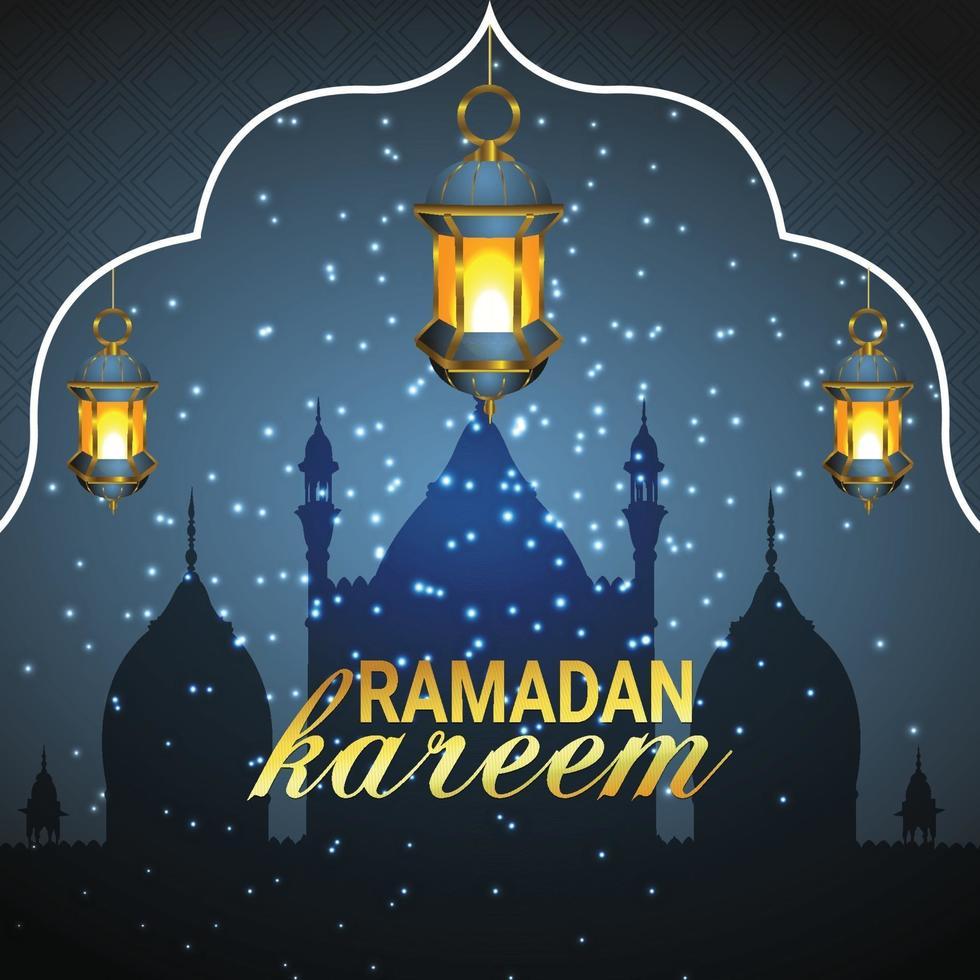islamisk hälsning ramadan kareem kortdesign bakgrund vektor