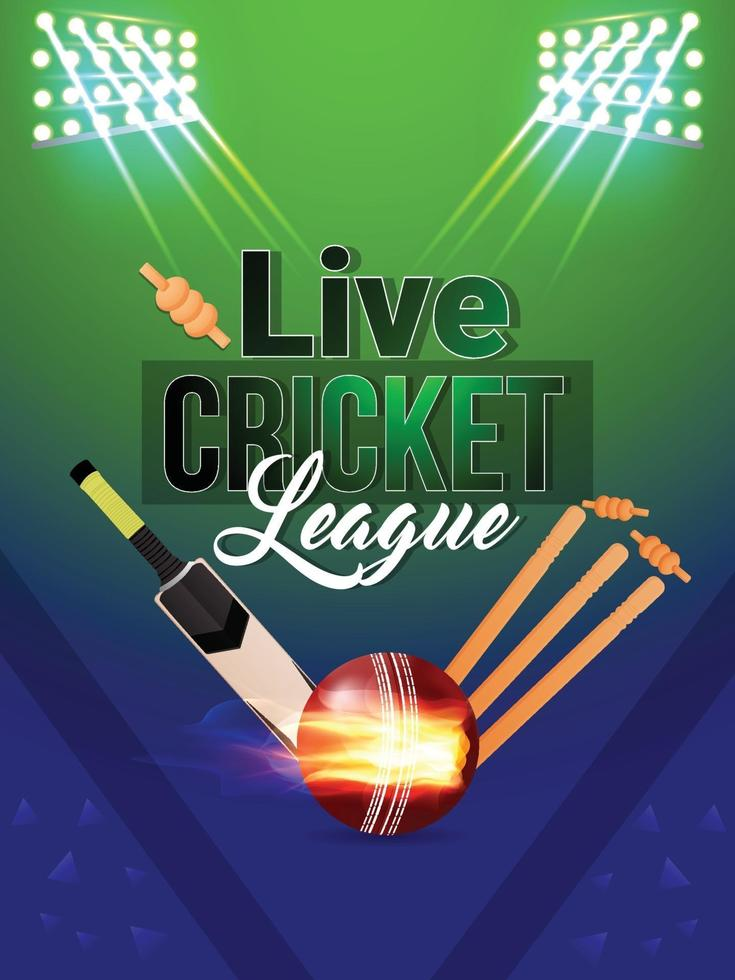 kreative Cricket-Vorlage mit Ausrüstung und Lichtern vektor