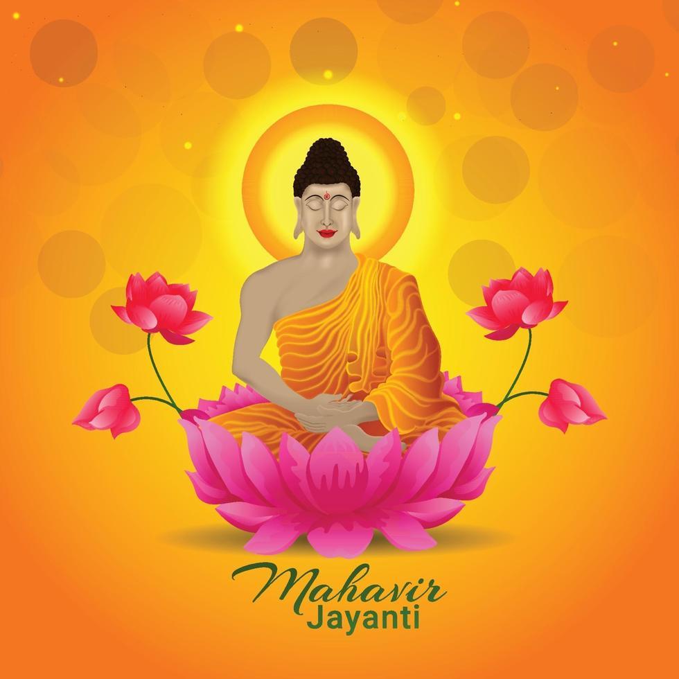 kreativ illustration av buddha för mahavir jayanti vektor