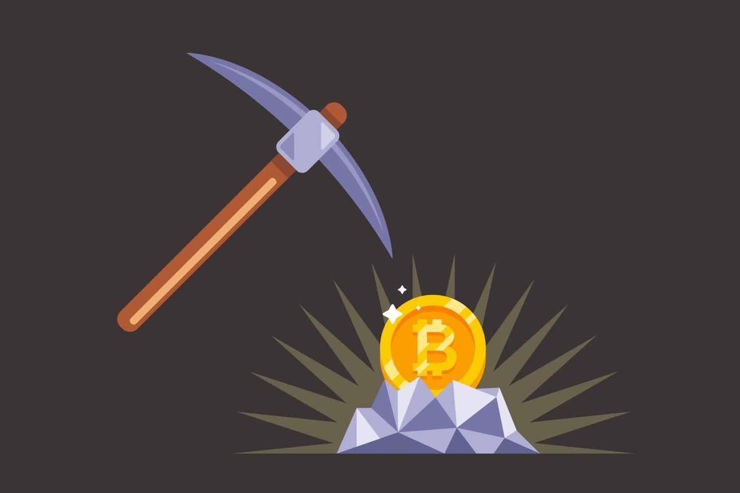 bryta bitcoin med en pickaxe i gruvan. guldmynt i sten. platt vektorillustration. vektor