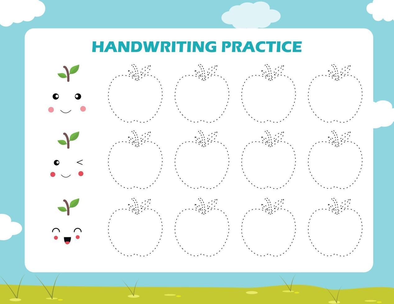 spåra linjerna med tecknad äpple. skrivförmåga övning. vektor