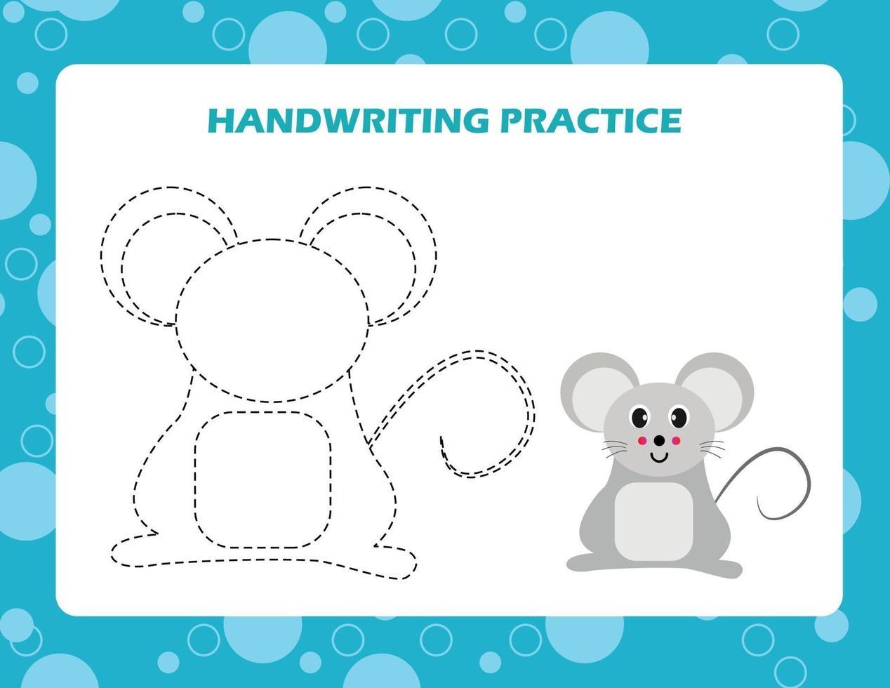 spåra linjerna med tecknad mus. skrivförmåga övning. vektor