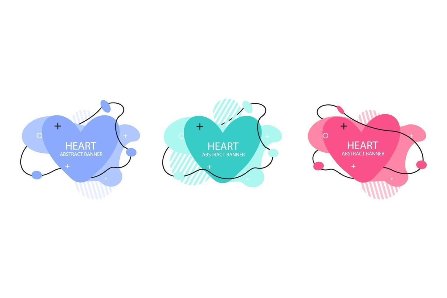 två hjärtans abstrakta banersamlingar. organiska eller flytande former med olika mjuka färger. användbar för webb, sociala medier, tryck, banner, bakgrund, bakgrundsmall. Alla hjärtans dag firande vektor