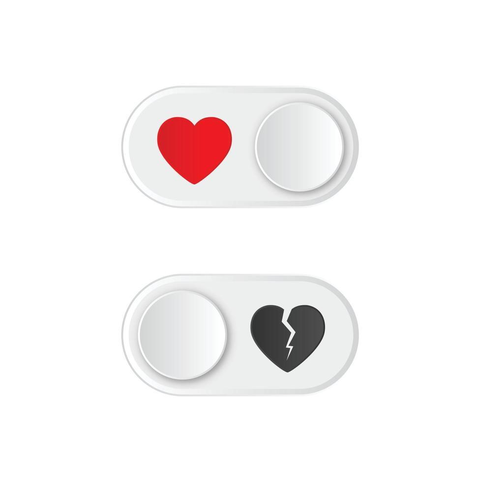 Ein- und Ausschalten der Kippschalter mit rotem und gebrochenem Herzen. fröhlichen Valentinstag. vektor