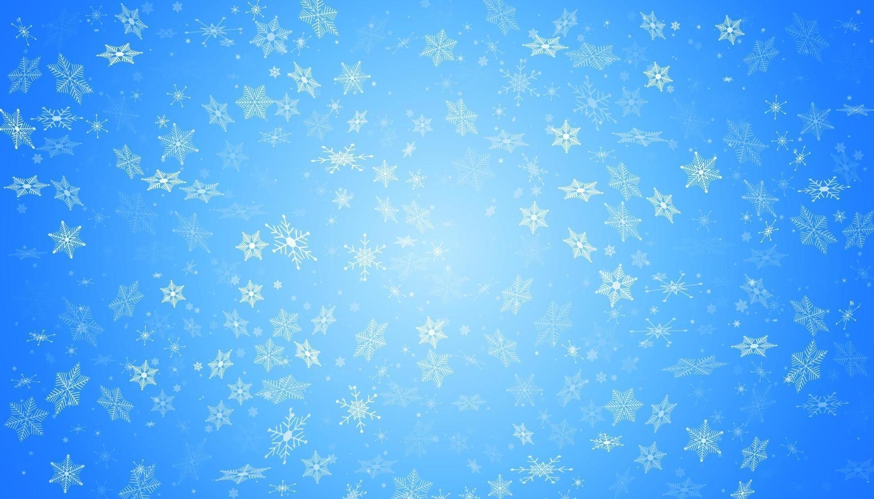 weißer Schnee fliegt auf einem blauen Hintergrund. Weihnachtsschneeflocken. Winter Schneesturm Hintergrund Illustration. vektor