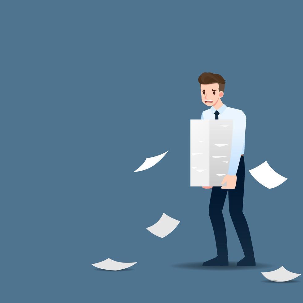 orolig och trött affärsman håller en stapel pappersdokument för att utföra uppgifter enligt mål och tidsfrister. vektor