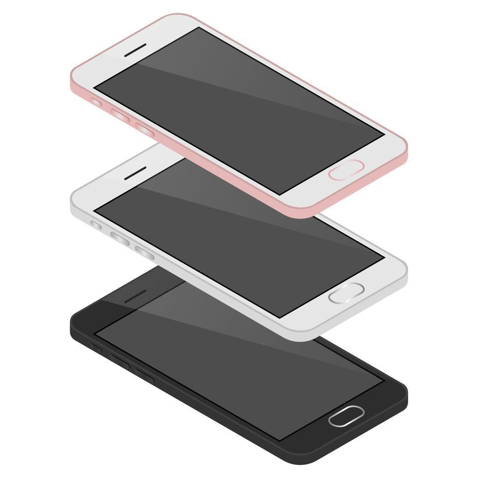 isometrisk 3d mobiltelefon vektor