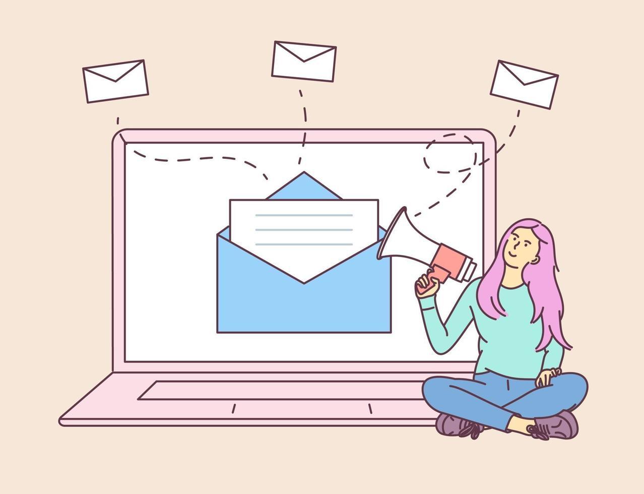 digitales Marketing, E-Mail-Kampagnenkonzept. junge Frau Mädchen am Laptop, hält Sprechen mit einem Megaphon. flache Vektorillustration vektor