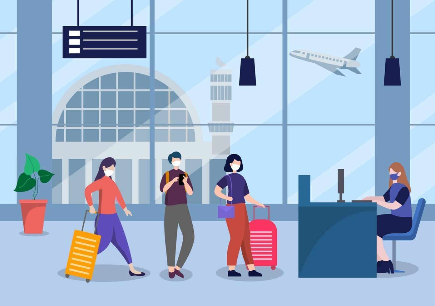 nya normala, vektorillustration människor i masker observerar social distansering på den inre flygplatsen vektor
