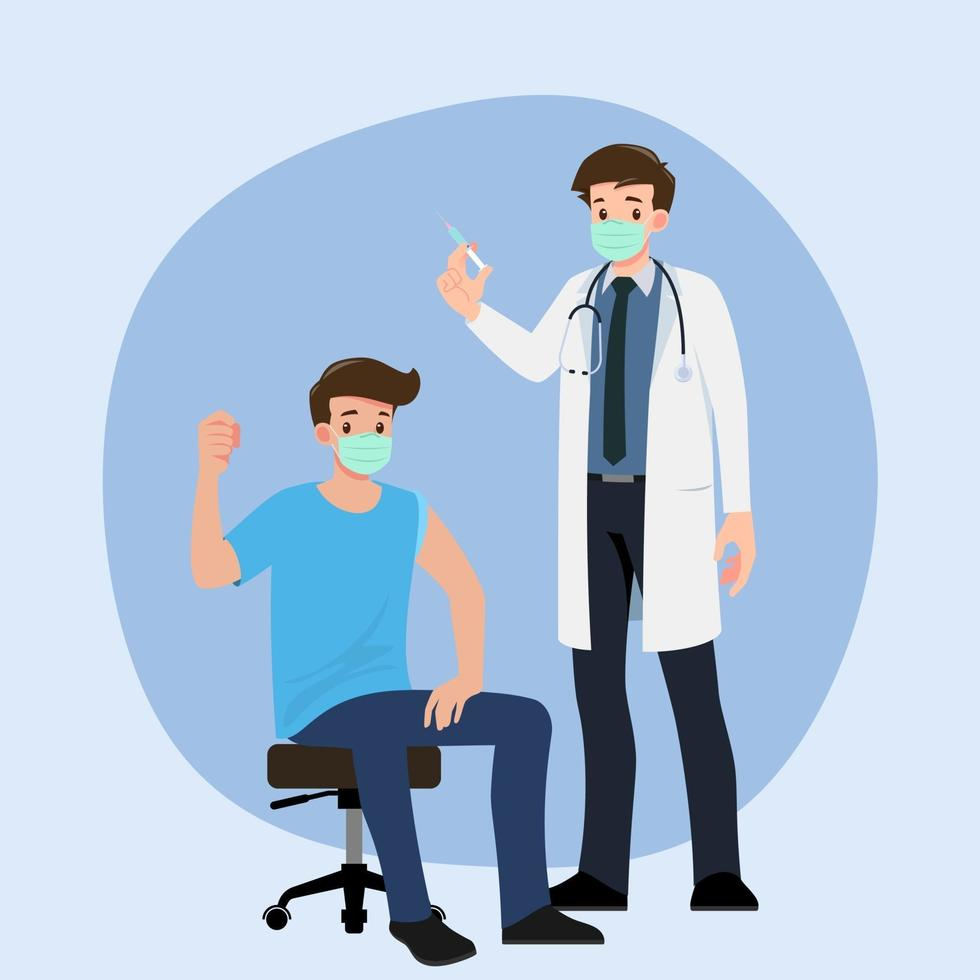 ein Arzt in einer Klinik, der einem Mann einen Coronavirus-Impfstoff gibt. Impfkonzept für die Gesundheit der Immunität. vektor