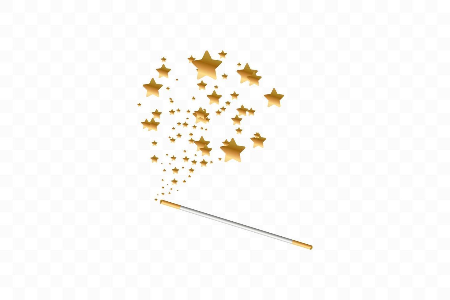 trollstav med stjärnor bakgrund. spår av gulddamm. magisk abstrakt bakgrund isolerad. mirakel och magi. vektor illustration platt design