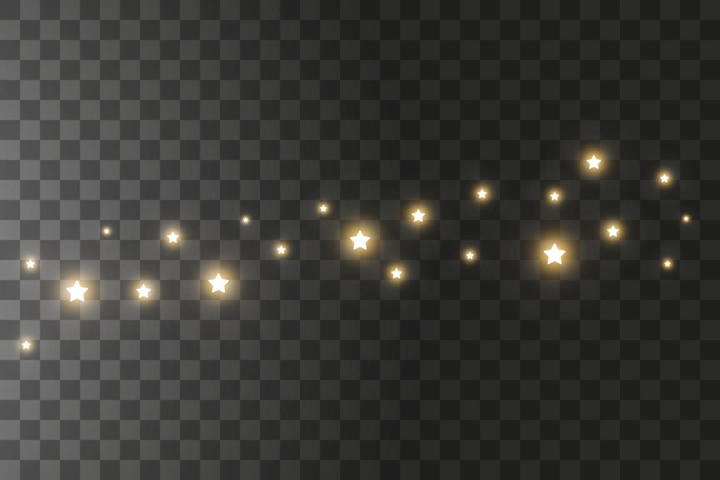 dammgnistor och gyllene stjärnor lyser med speciellt ljus. vektor gnistrar på en bakgrund. jul ljuseffekt. gnistrande magiska dammpartiklar.