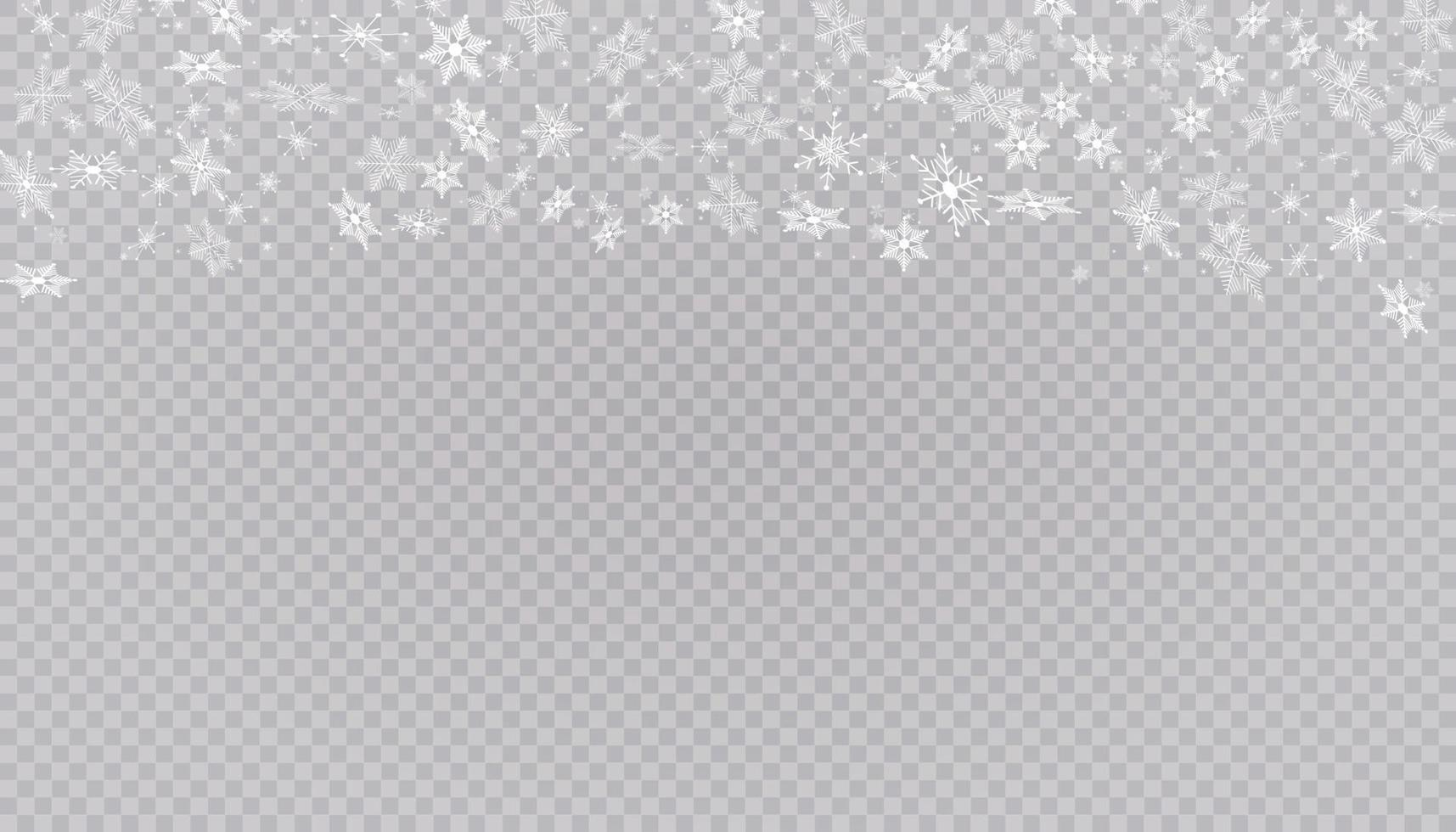 vit snö flyger bakgrund. jul snöflingor. vinter snöstorm bakgrundsillustration. vektor