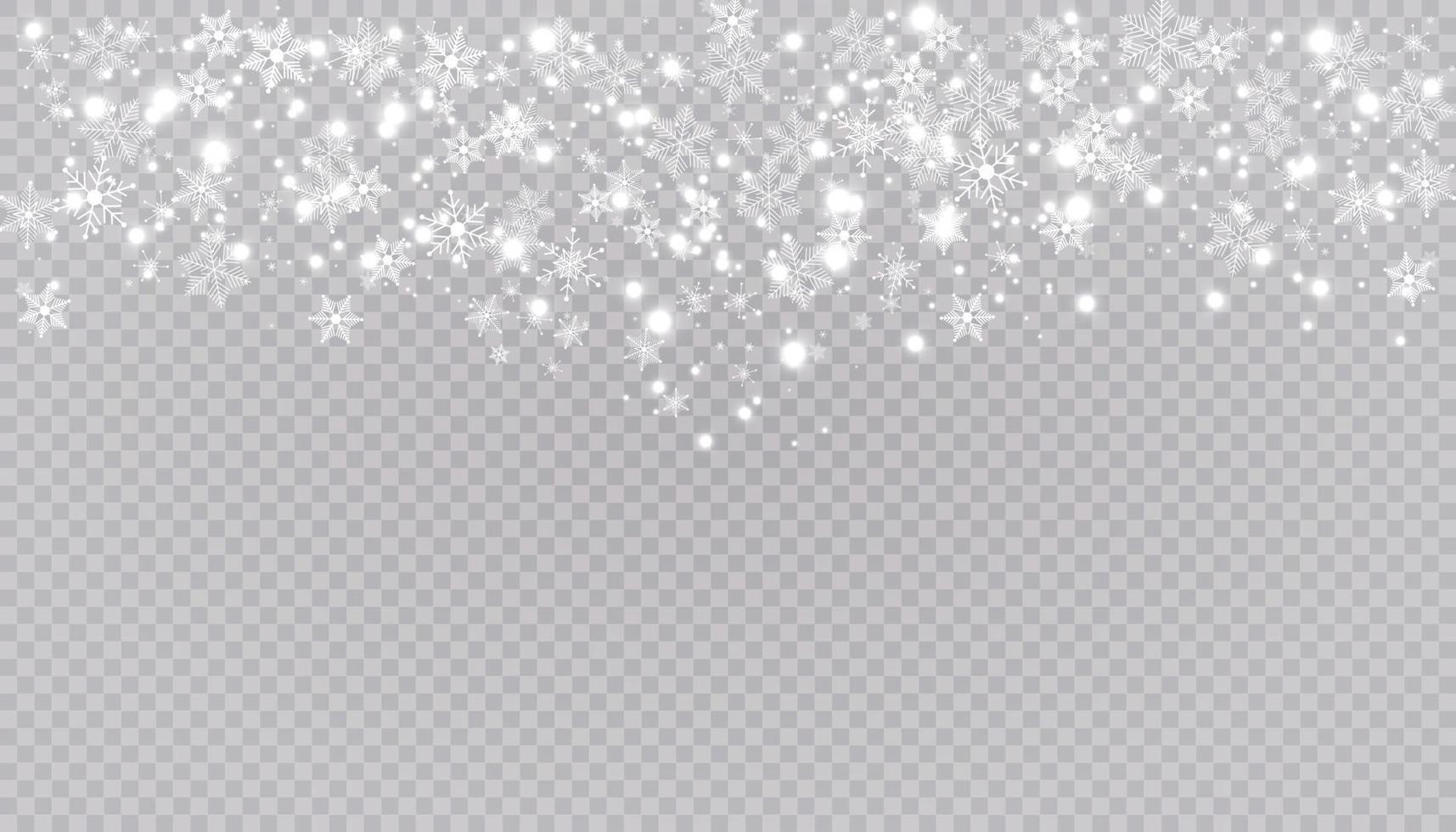 weißer Schnee fliegt Hintergrund. Weihnachtsschneeflocken. Winter Schneesturm Hintergrund Illustration. vektor