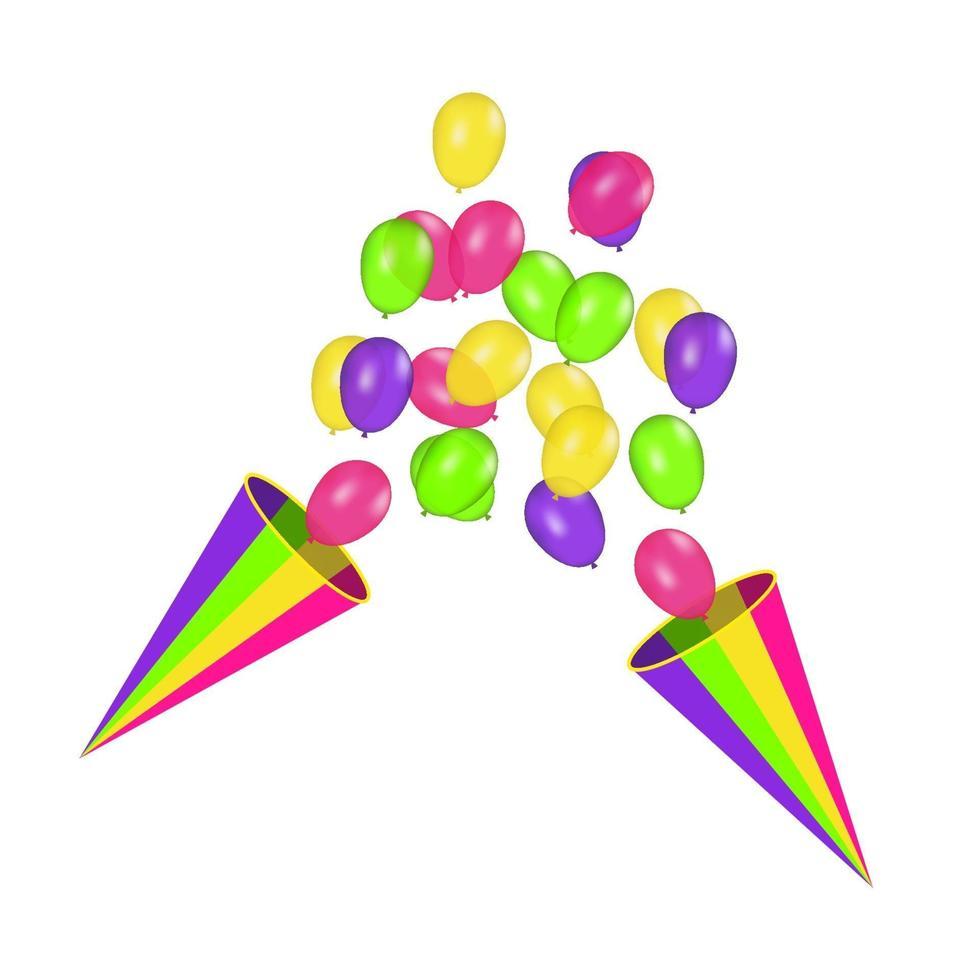 luftballonger isolerade. färgkomposition av realistiska vektorballonger isolerad på vit bakgrund. ballonger isolerade. festlig vektorillustration vektor