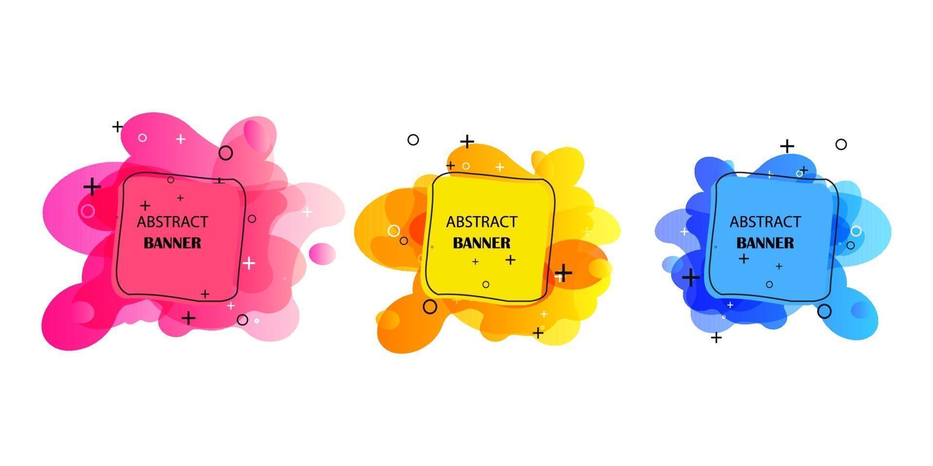gradient geometriska banners med flytande flytande former. dynamisk vätskedesign för logotyp, flygblad eller present. abstrakt vektor bakgrund
