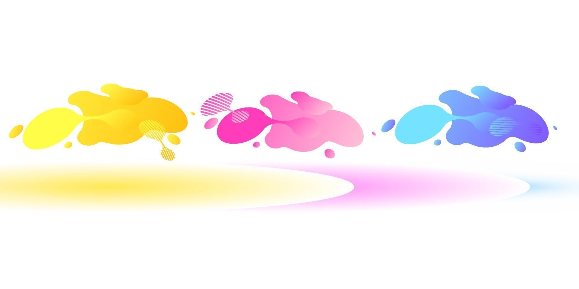 abstrakta geometriska former. flytande gradient banners isolerad på vit bakgrund. flytande vektor bakgrund. gradient geometriska banners med flytande flytande former. dynamisk vätskedesign för logotyp, flygblad eller present. abstrakt vektor bakgrund