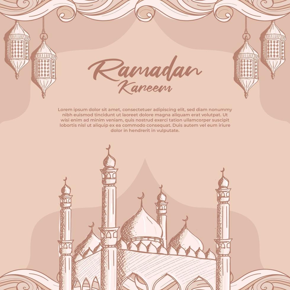 ramadan kareem med handritad islamisk moské och lykta illustration bakgrund vektor