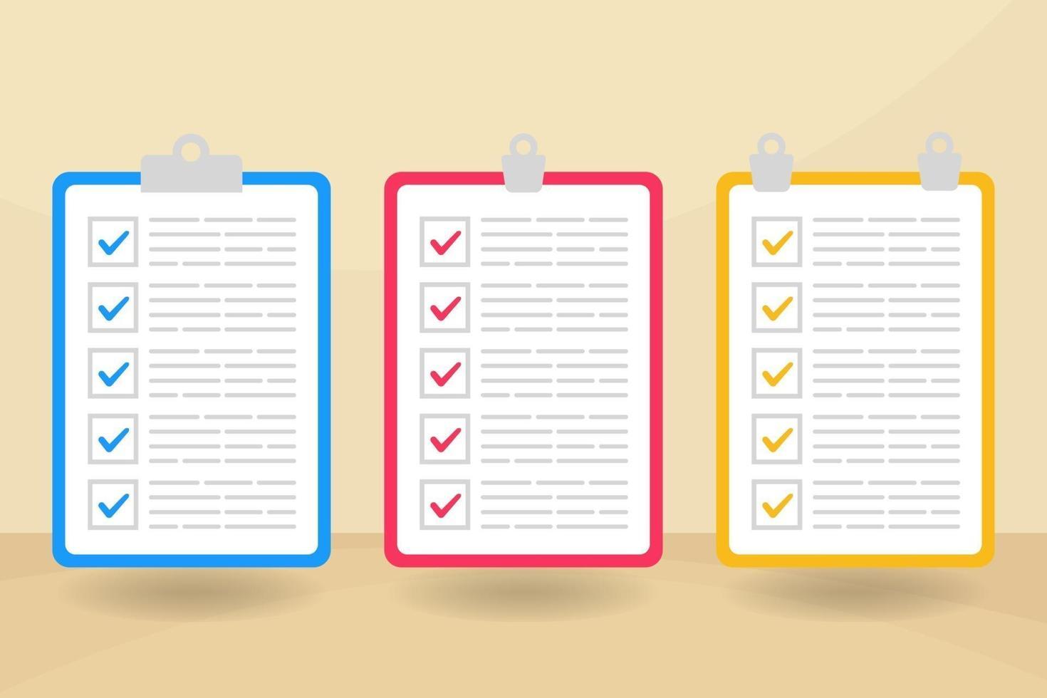 färgglad checklistasamling med platt design vektor