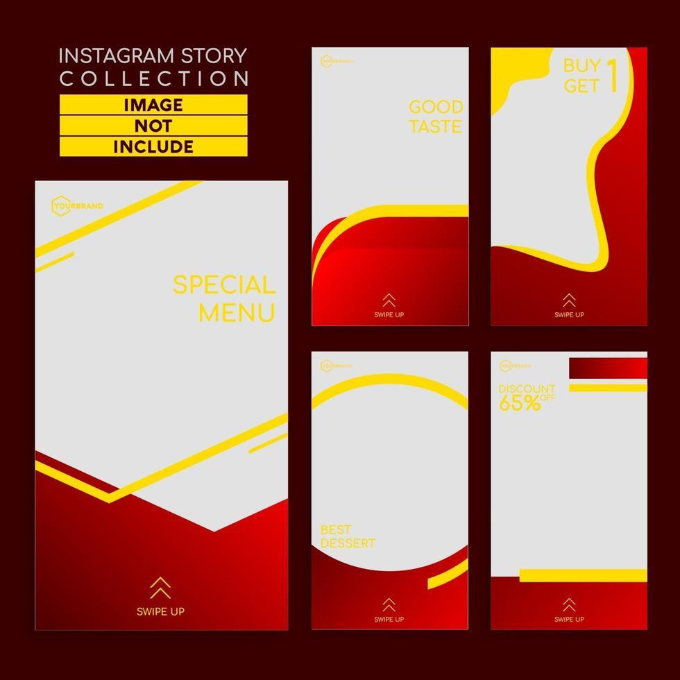 minimalistisk matmeny berättelser mall för sociala medier vektor