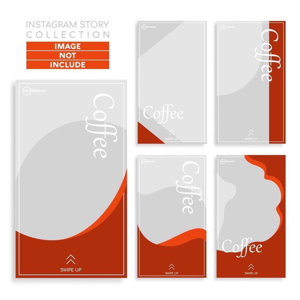 minimalistisk kafé sociala medier berättelser mall vektor