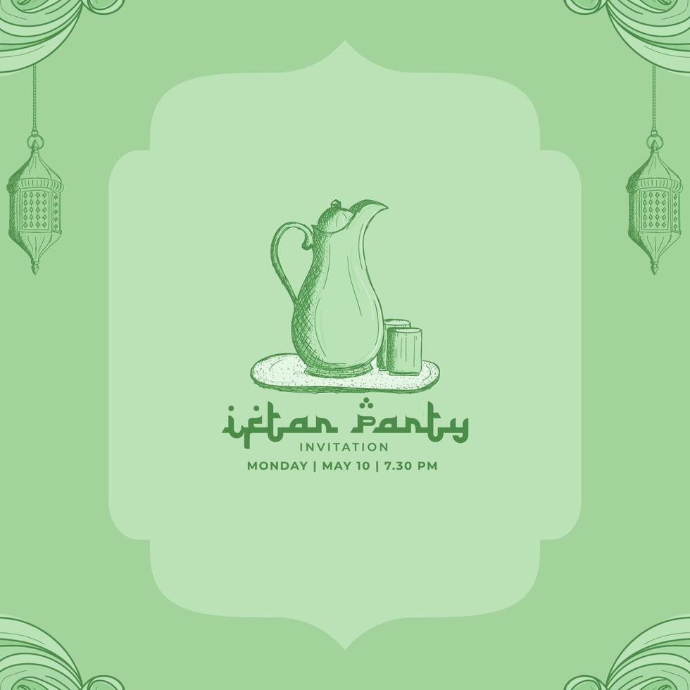 iftar party ramadan kareem med handritad islamisk prydnad illustration bakgrund vektor