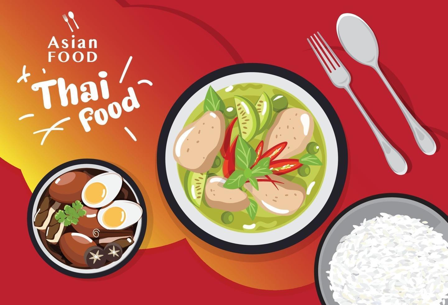 thailändsk mat som traditionell, asiatisk matmeny vektorillustration vektor