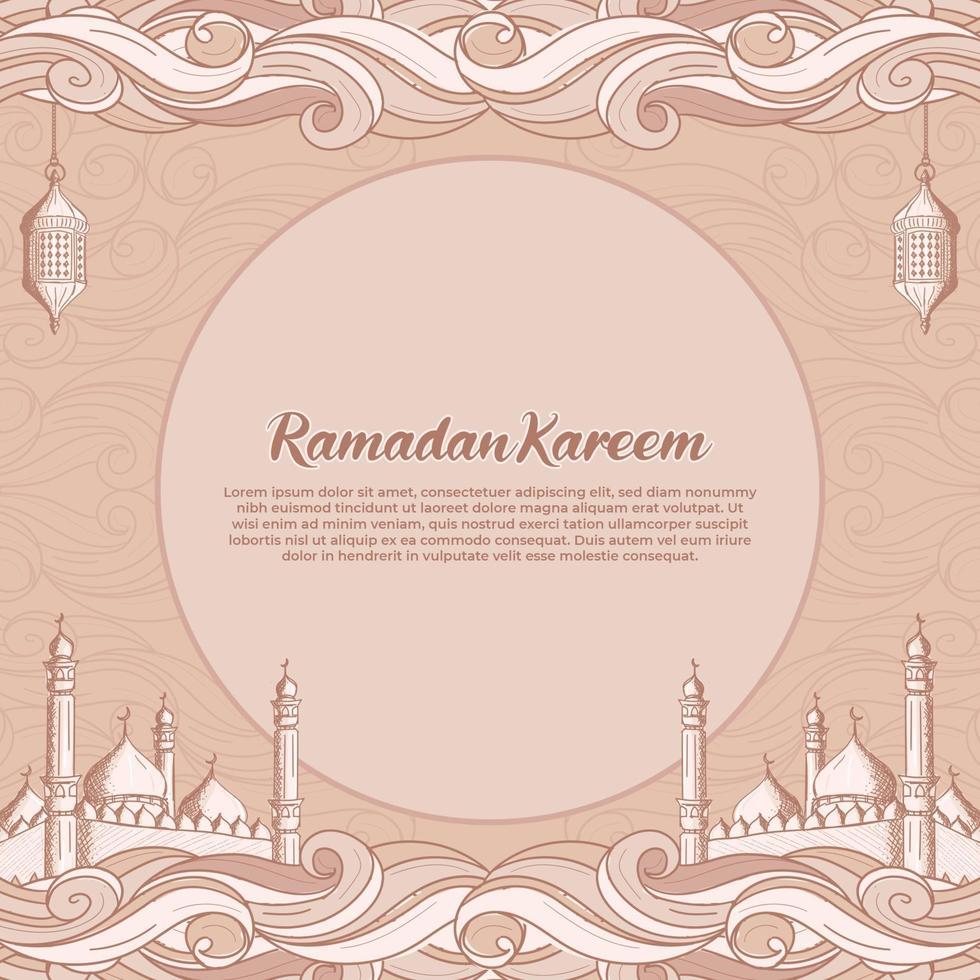 ramadan kareem med handritad islamisk moské och lyktaillustration vektor