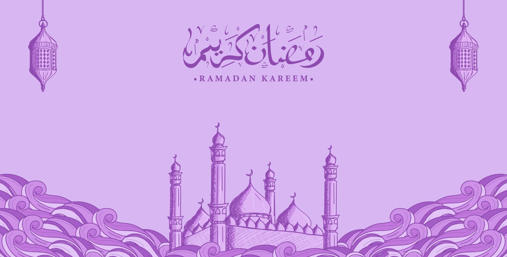 arabisk kalligrafi ramadan kareem med handritad moskéillustration vektor