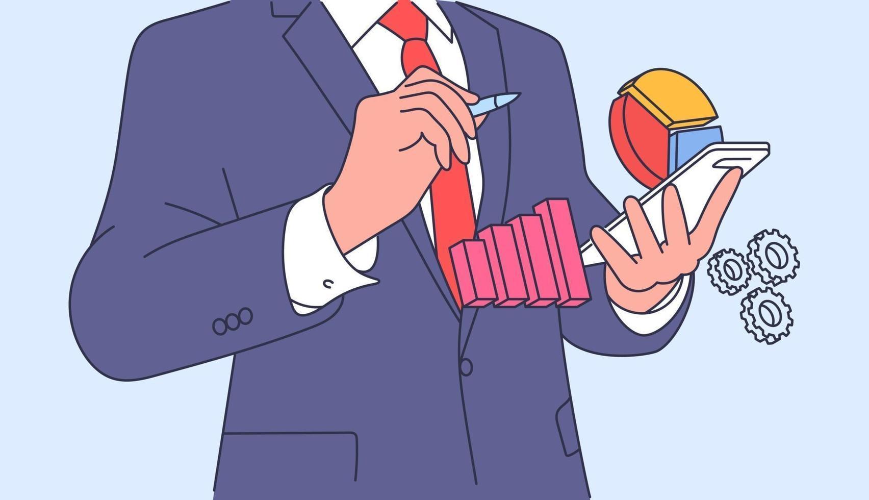 analys, affärsplan koncept. affärsman kontorist chef planering och brainstorming. platt vektorillustration vektor