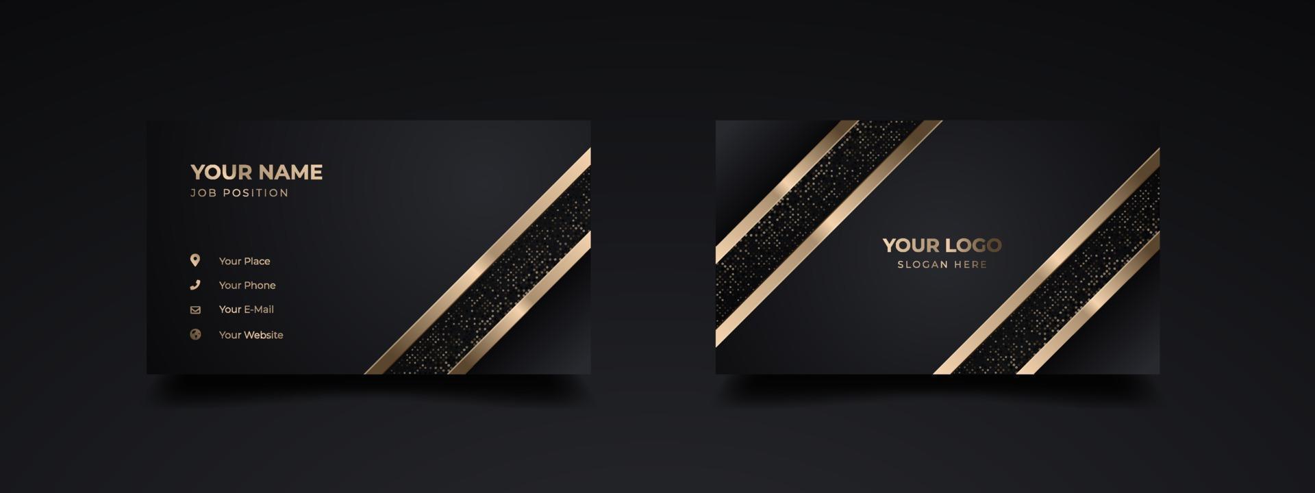 modern lyx visitkortsmall design. inspiration från det abstrakta. kontaktkort för företag. dubbelsidig gyllene design. vektor illustration