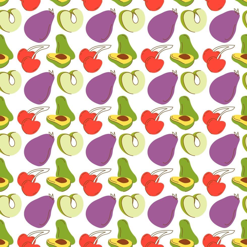 fruktmönster med färgläggning av aubergine, avokado, gröna äpplen, körsbär. sömlös retro bakgrund med frukt och grönsaker vektor