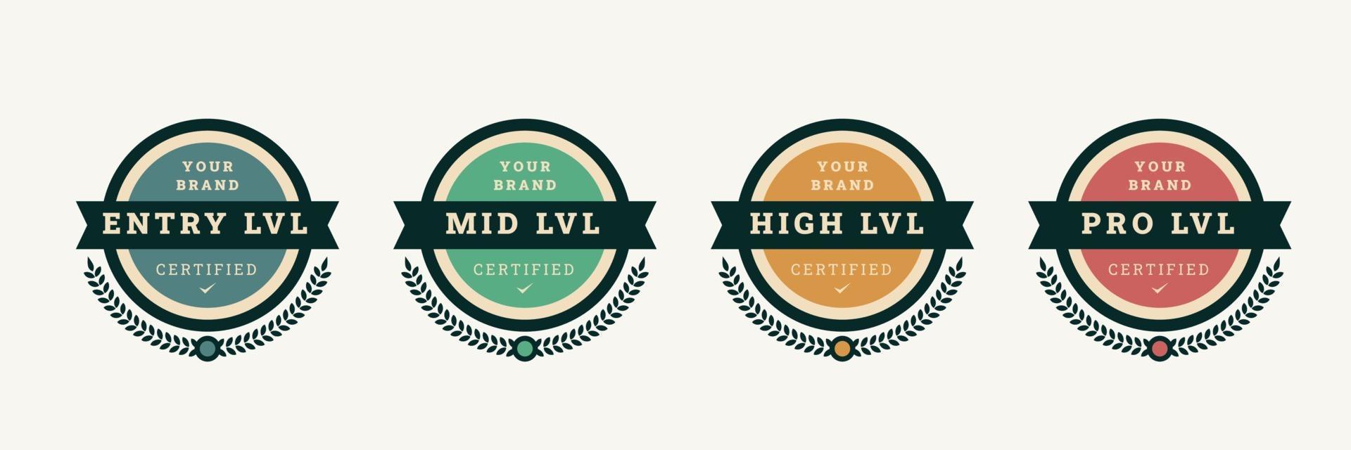 digital certifierad logotyp badge mall. certifieringsemblem med vintage konceptdesign. vektor illustration.