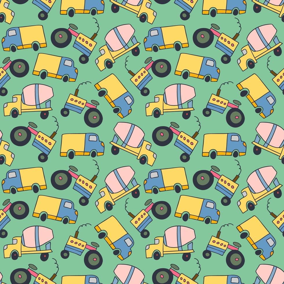 mönster element lastfordon. sömlösa mönster vektor av byggfordon tecknad