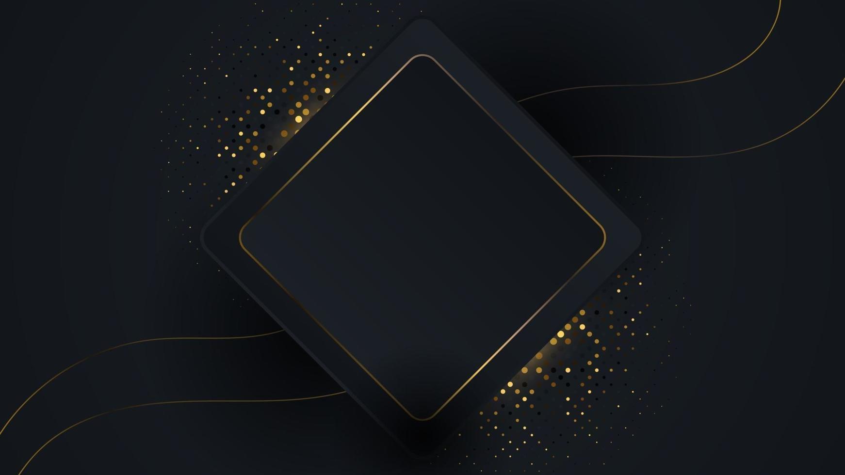 Luxus Hintergrund mit funkelnden Glitzern Punkte Element Dekoration. elegante Vektorüberlappung mit geometrischer Form und goldener Linie. Grafikdesign für Leerzeichenillustrationen. vektor