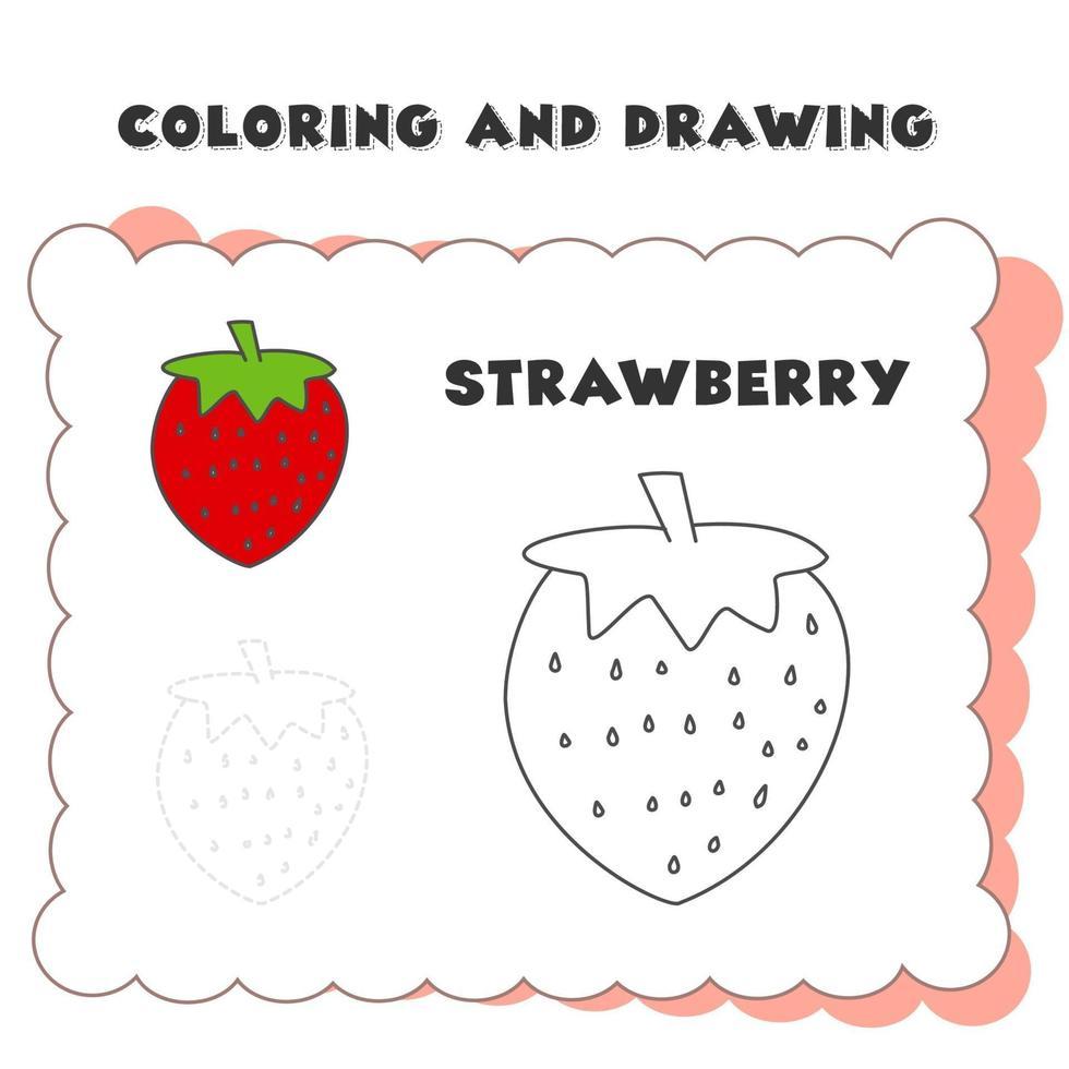 Mal- und Malbuchelement Erdbeere. Zeichnung einer Erdbeere für die Kindererziehung vektor