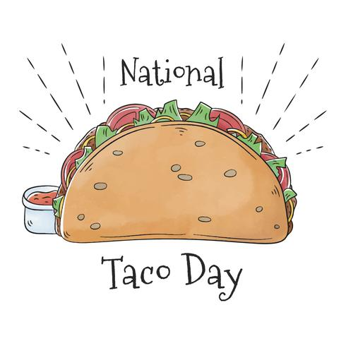Nettes Taco-Lebensmittel mit scharfer Soße vektor