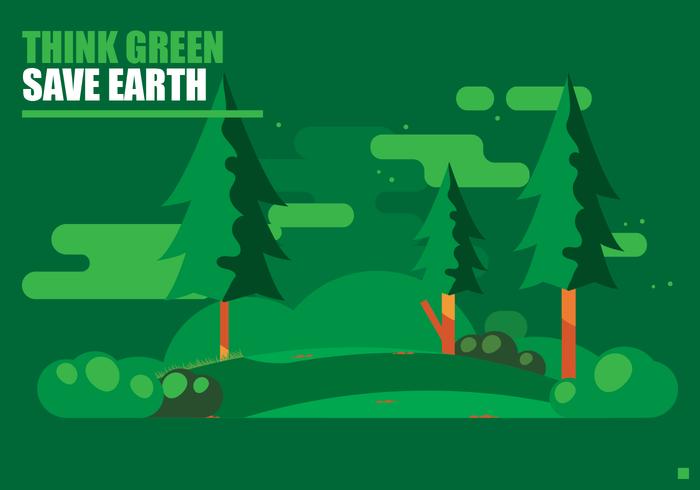 Denken Sie grünes Plakat vektor
