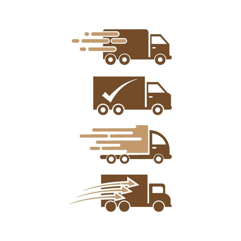 snabb leverans lastbil ikonuppsättning vektor