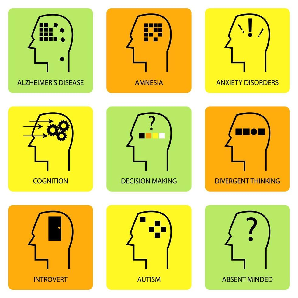 linje konst ikon för mänskligt sinne, tänkande process, karakteristiska, sjukdom och psykologiska termer vektor