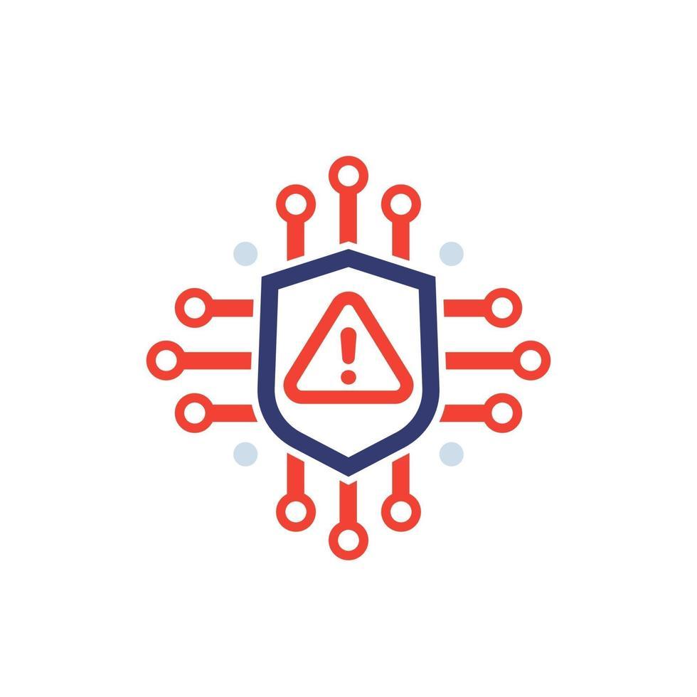 cybersäkerhetsvarning, varningsvektorikon på white.eps vektor