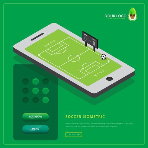 Isometrische Fußball Mobile Game Illustration vektor