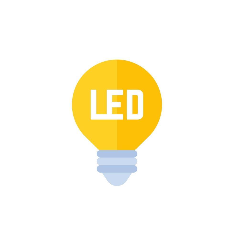ledde glödlampa ikon på vit, platt vector.eps vektor