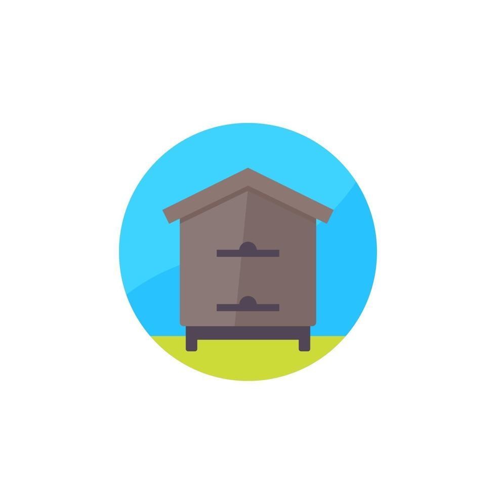 Bienenstock, Bienenhaus-Symbol, flaches design.eps vektor