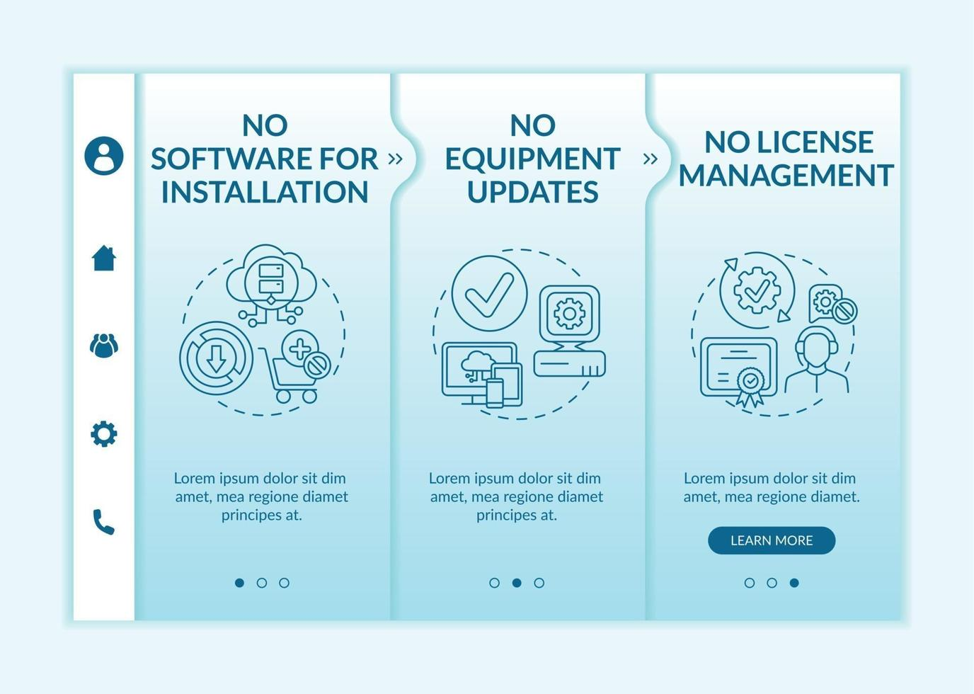 Software als Service Vorteile Onboarding Vektor Vorlage